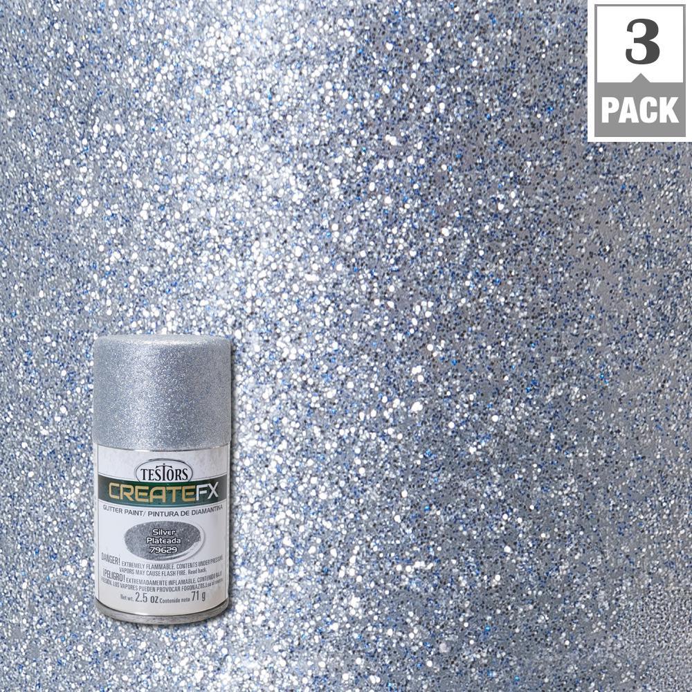 2.5 oz. Silver Glitter Spray Paint (3-Pack)