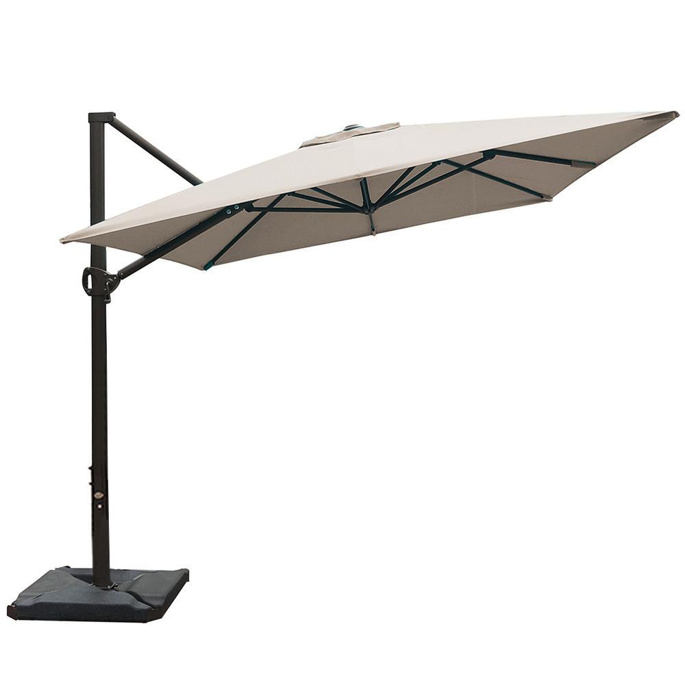 8 ft. x 10 ft. Rectangular Cantilever Push Tilt Patio Umbrella in Sand