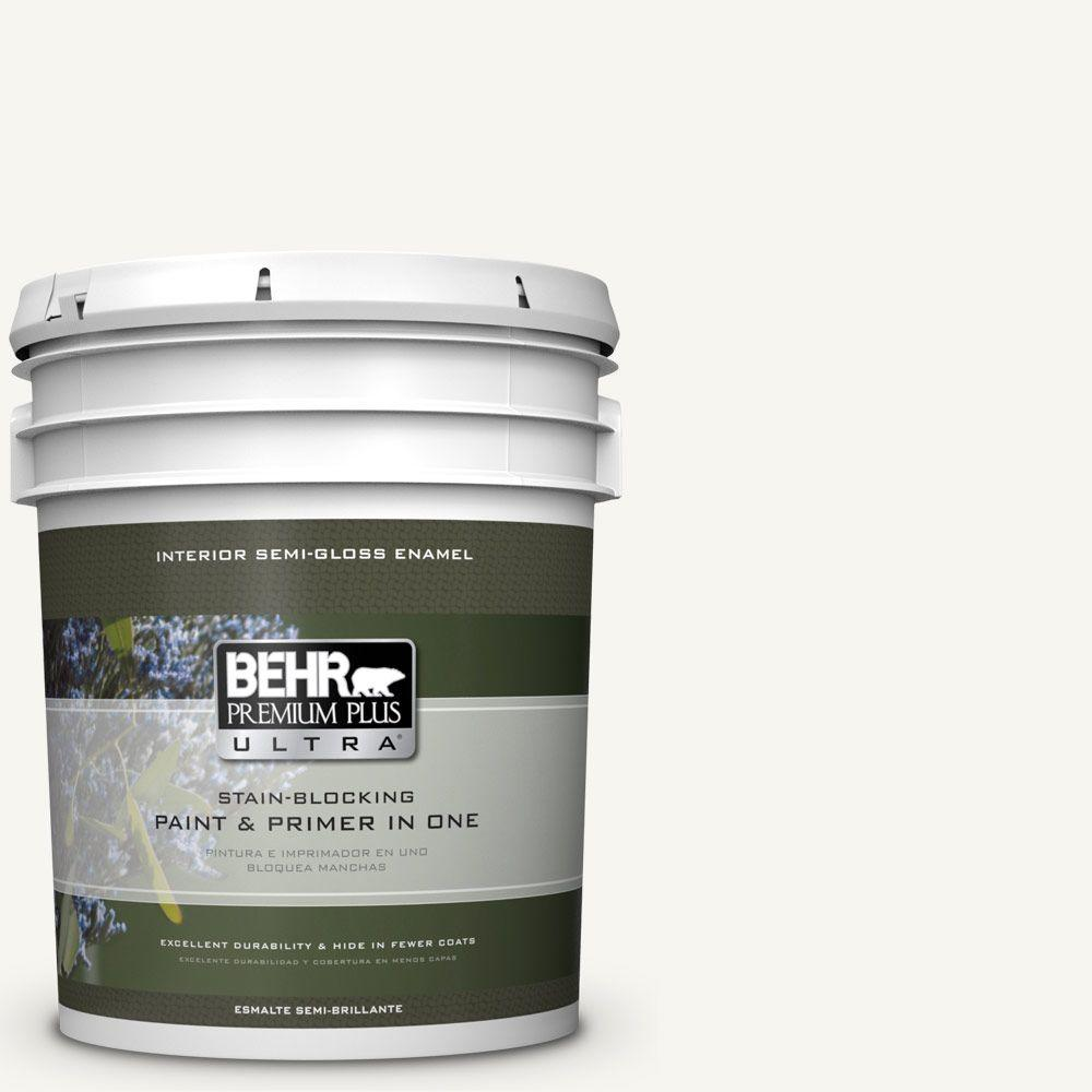 5 gal. #HDC-WR16-01 Snow Day Semi-Gloss Enamel Interior Paint
