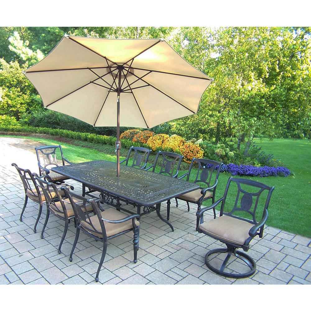 11 Piece Multi Color Aluminum Outdoor Dining Set With Sunbrella Beige  Cushions