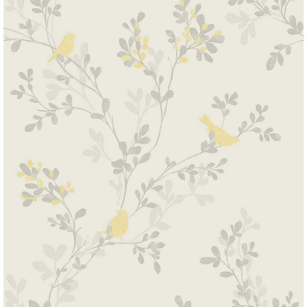 Brewster nadia yellow bird wallpaper 2704 41262sw the for Yellow wallpaper home depot