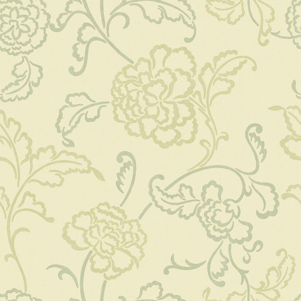 The Wallpaper Company 8 in. x 10 in. Beige and Green Modern Linear Floral and Leaf Wallpaper Sample