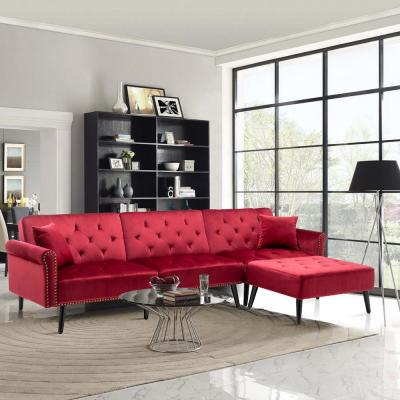 115 in. Red Velvet 3-Seater Full Sleeper Sectional Sofa Bed with Tapered Legs