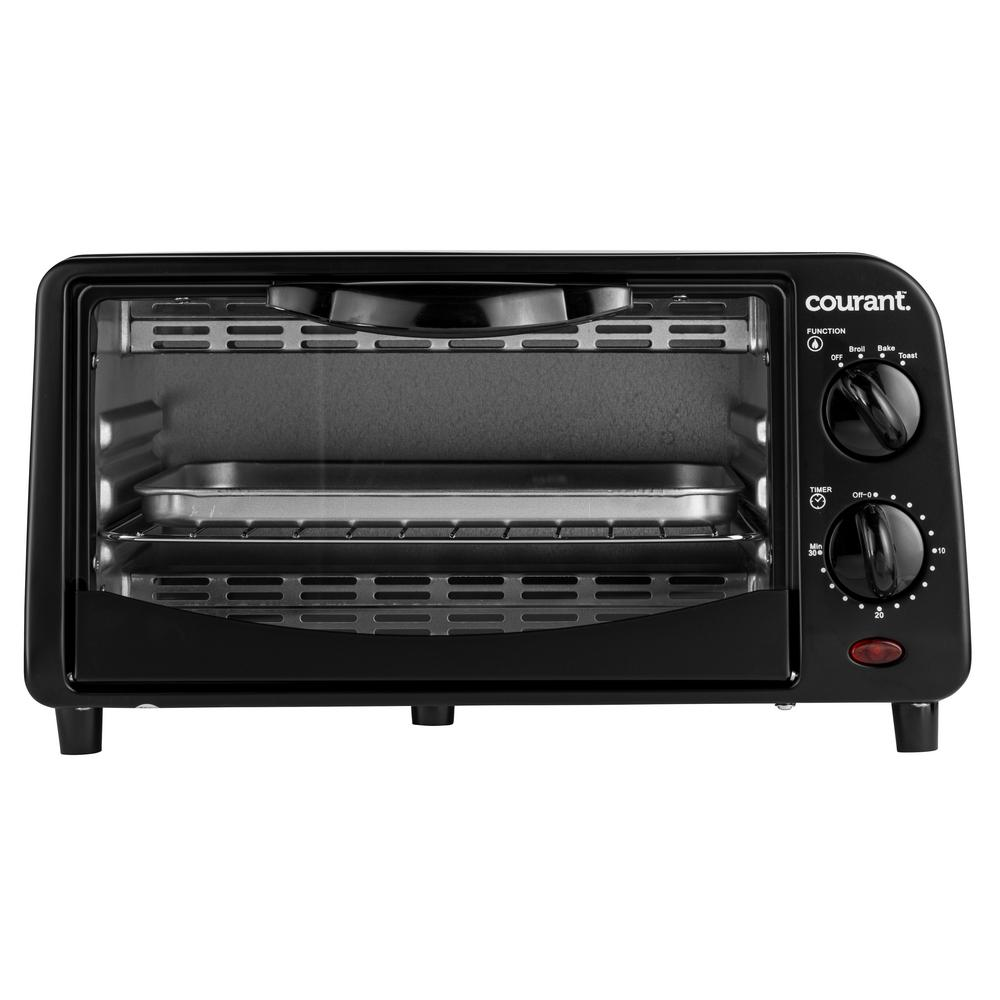 4-Slice Countertop Toaster Oven with Bake and Broil Functions and 30-Minute Timer in Black Our Courant Countertop Toaster Oven is a great complement to any kitchen. Good for baking dishes, reheating pizza slices as well as making toast. Includes a 30-minute timer with end-of cycle alert. Also includes a broiler. Great appliance to have in addition to a full-size oven when you need even more space. Color: Black.