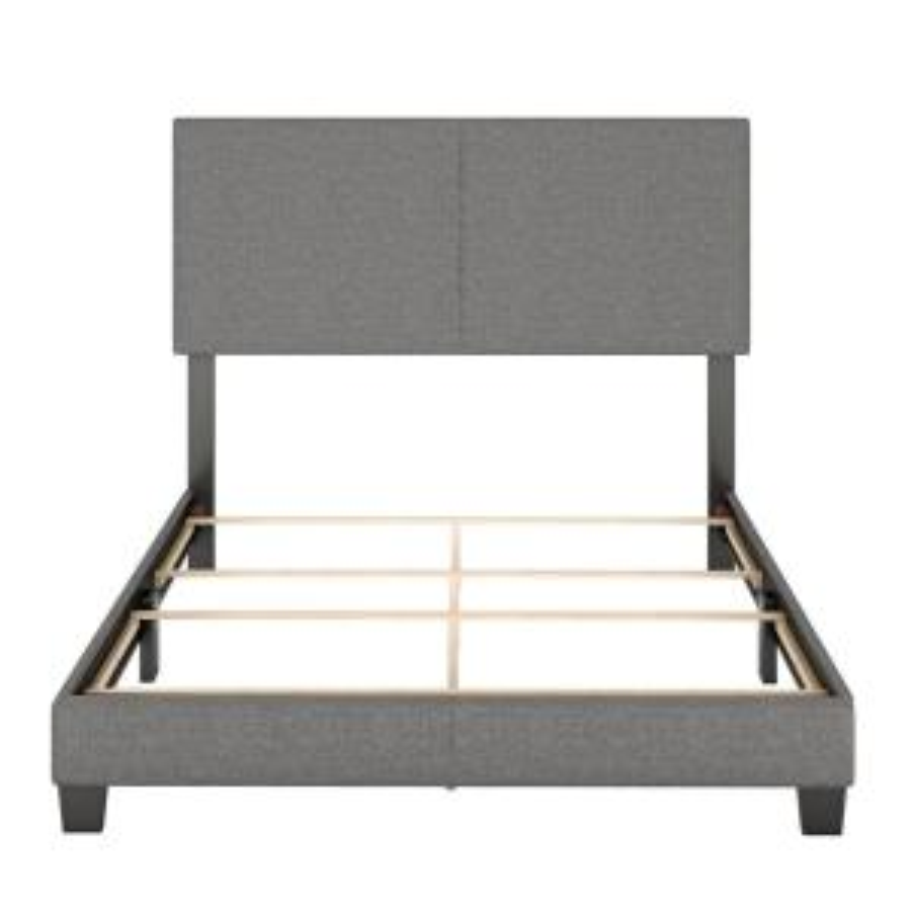 Barrett King Grey Linen Upholstered Platform Bed