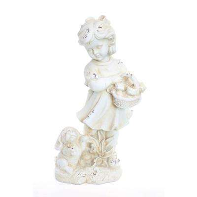 Girl and Dogs Cream Garden Statue