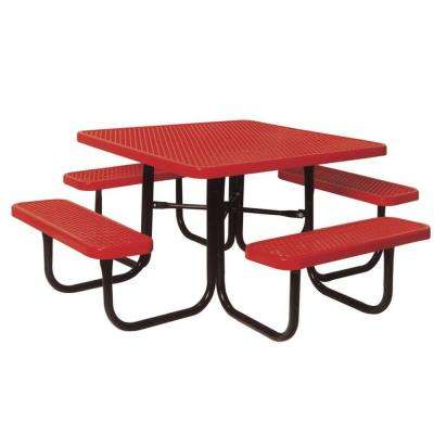 46 in. Diamond Red Commercial Park Portable Square Table