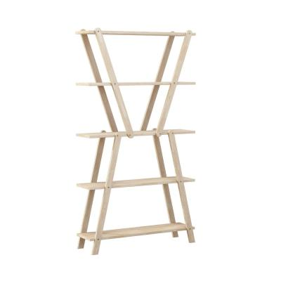 Freemont 63.7 in. Natural Solid Wood 5 -Shelf Hourglass Bookcase