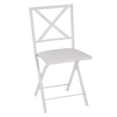 X-Back White Metal Folding Dining Chair with Vinyl Seat (Set of 4)