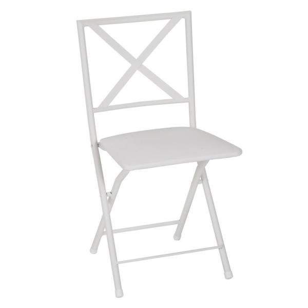 Cosco X-Back White Metal Folding Dining Chair with Vinyl Seat (Set of 4)