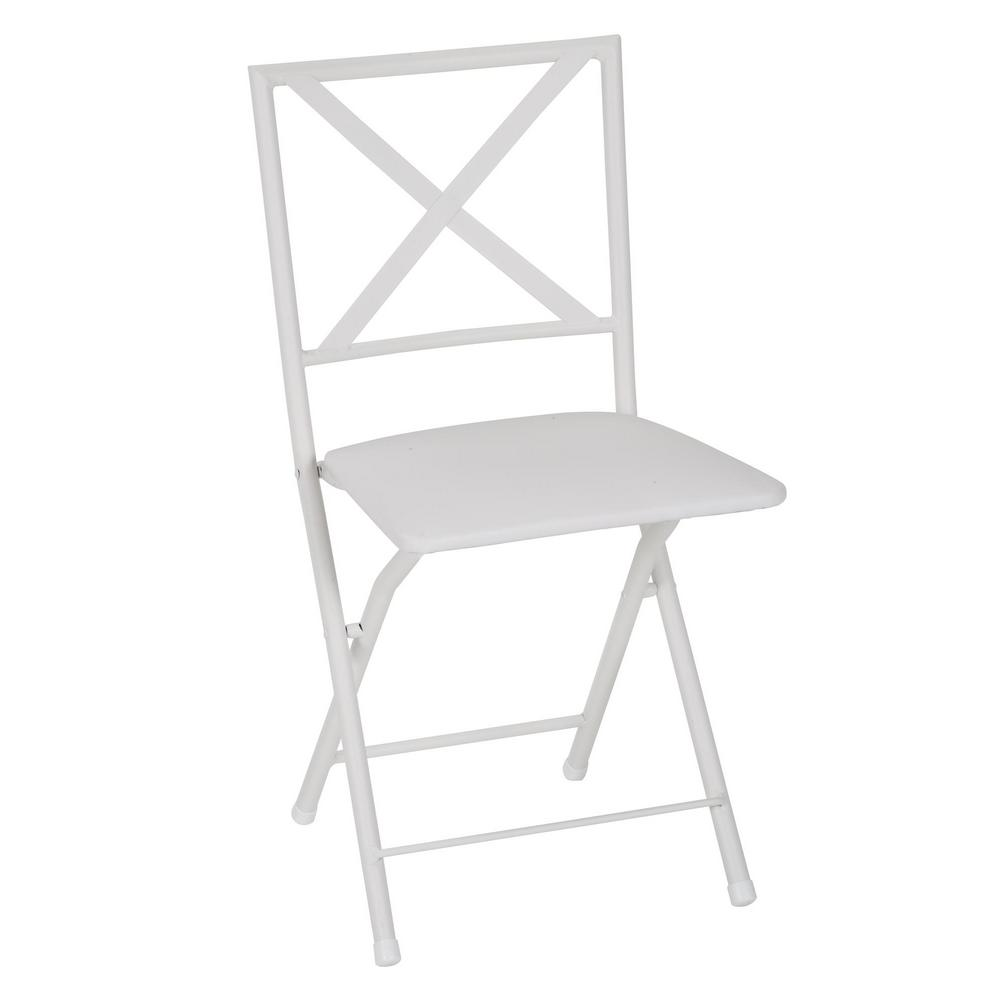 Cosco X Back White Metal Folding Dining Chair With Vinyl