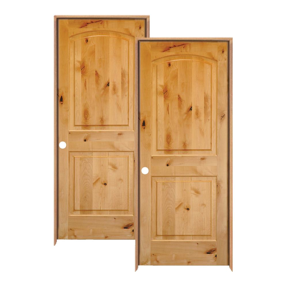 Krosswood Doors 36 In X 80 In Rustic Knotty Alder 2 Panel Top Rail Arch Solid Wood Left Hand