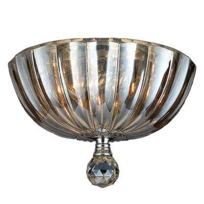 Mansfield Collection 3-Light Chrome Flush Mount with Golden Teak Crystal