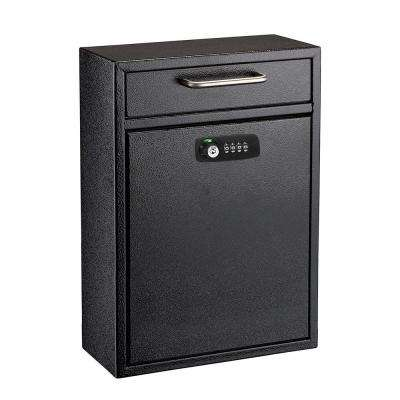 Black Large Drop Box Wall Mounted Locking Mail Box with Key and Combination lock