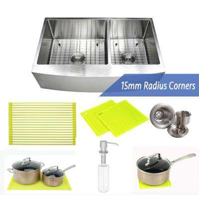 36 in. x 21 in. x 10 in. 16-Gauge Stainless Steel Farmhouse Apron 60/40 Offset Double Bowl Kitchen Sink with Accessories