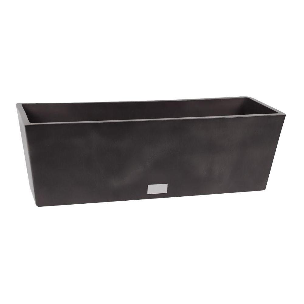 Veradek Window Box 6.5 in. W x 18 in. H Black Rectangular Plastic Planter
