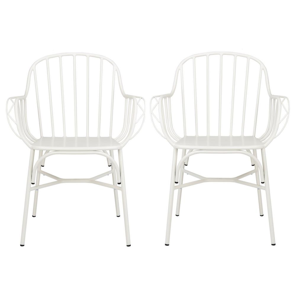 Tucker Matte White Stackable Metal Outdoor Dining Chair (2-Pack)