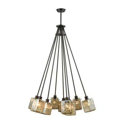 Watercube 9-Light Oil Rubbed Bronze Chandelier with Teak Water Glass Shades