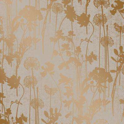 Distressed Fl Grey And Metallic Copper Self Adhesive Removable Wallpaper