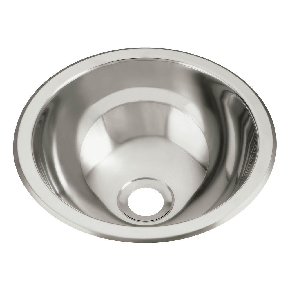 STERLING Drop In Round Stainless Steal Bathroom Sink In Stainless Steel