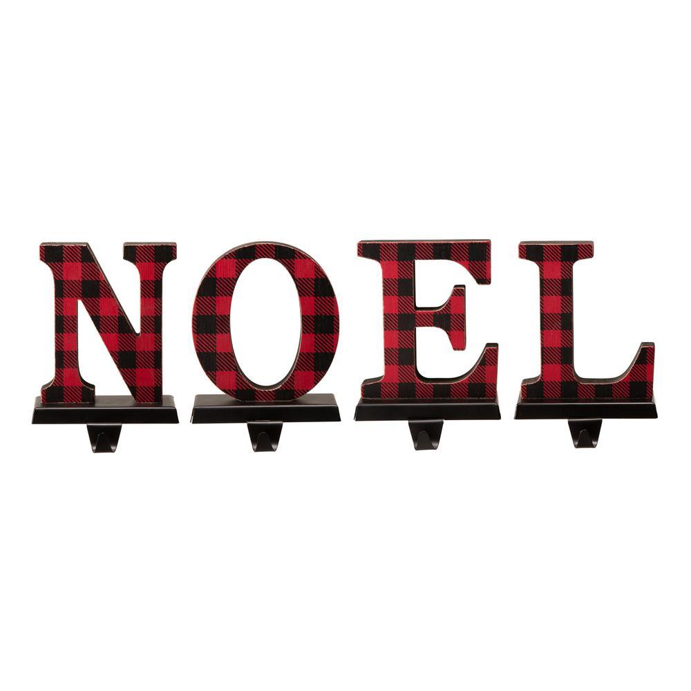 Wooden/Metal NOEL Christmas Stocking Holder (Set of 4)