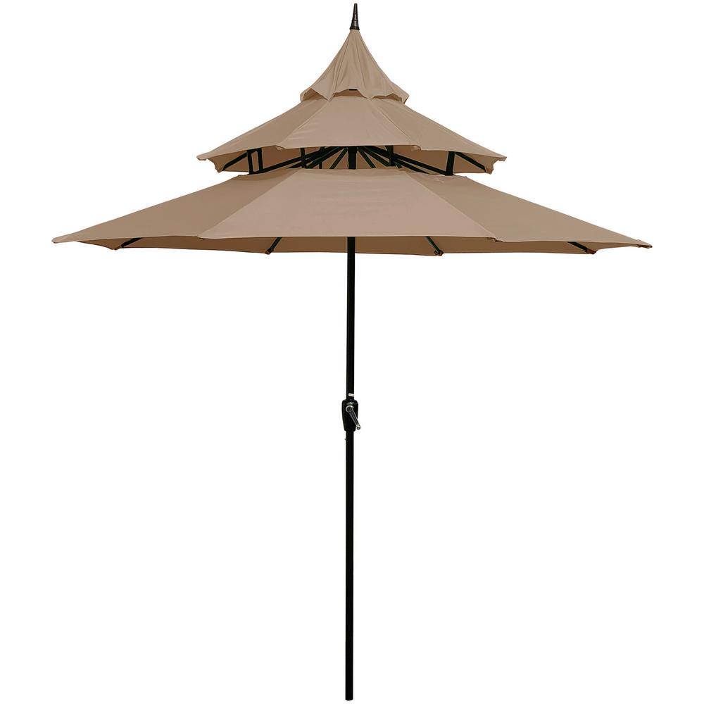 9 ft. Steel Crank Pagoda Market Patio Umbrella in Tan