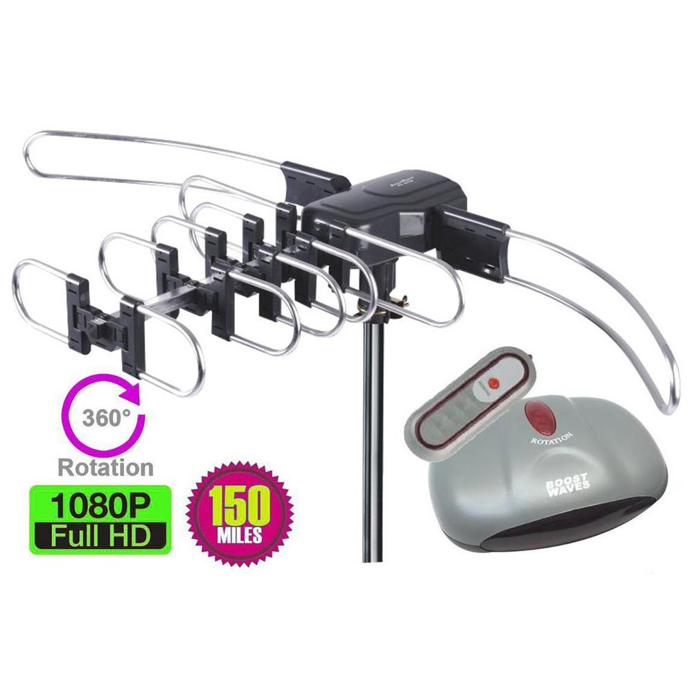 Outdoor Amplified Antenna 150 Miles Range 360° Rotation Wireless Remote No