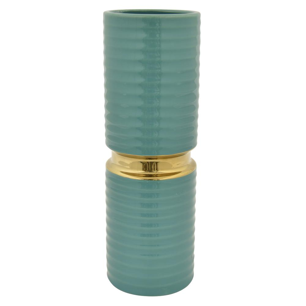 13.75 in. Porcelain Vase in Turquoise and Gold