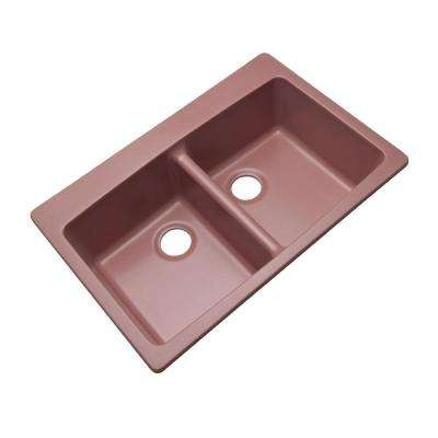 Waterbrook Dual Mount Composite Granite 33 in. Double Bowl Kitchen Sink in Coral Rose