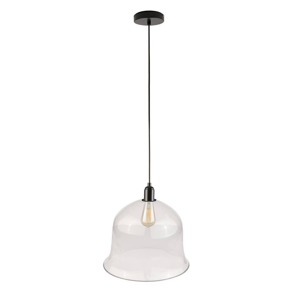 Bazz 60 In Single Black And Clear Glass Bell Shape Single Hanging Ceiling Light Pendant