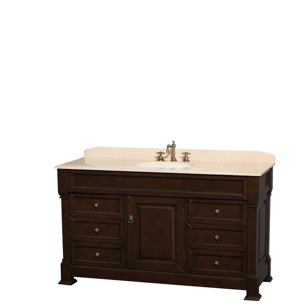 Wyndham Collection Andover 60 in. W x 23 in. D Bath Vanity in Dark Cherry with Marble Vanity Top in Ivory with White Basin