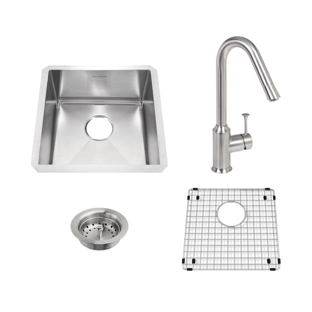 Pekoe All-in-One Undermount Stainless Steel 17 in. Single Bowl Kitchen Sink