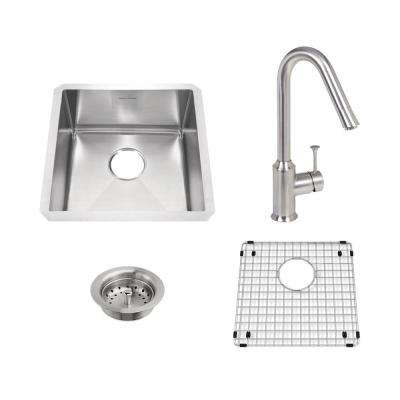 Pekoe All-in-One Undermount Stainless Steel 17 in. Single Bowl Kitchen Sink with Faucet in Stainless Steel