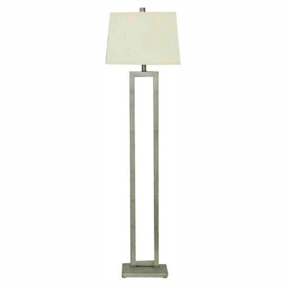 Hampton Bay 60 5 In Dual Pole Silver Leaf Floor Lamp With
