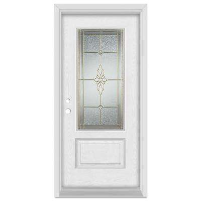 33.375 in. x 83 in. Victoria Right-Hand 3/4 Lite Brass Finished Fiberglass Oak Woodgrain Prehung Front Door Brickmould