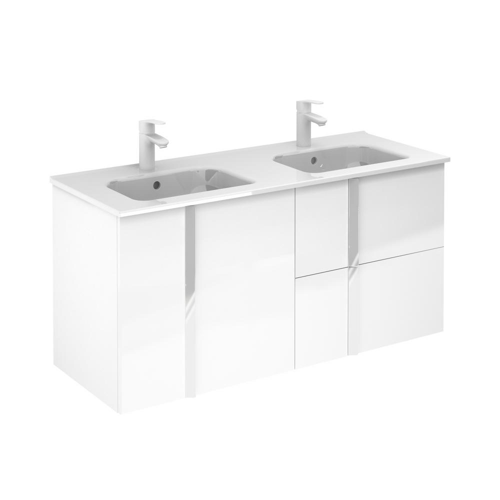 ROYO Onix 48 in. W x 18 in. D Vanity with Doors and Drawers in White with Vanity Top in White Ceramic Basin