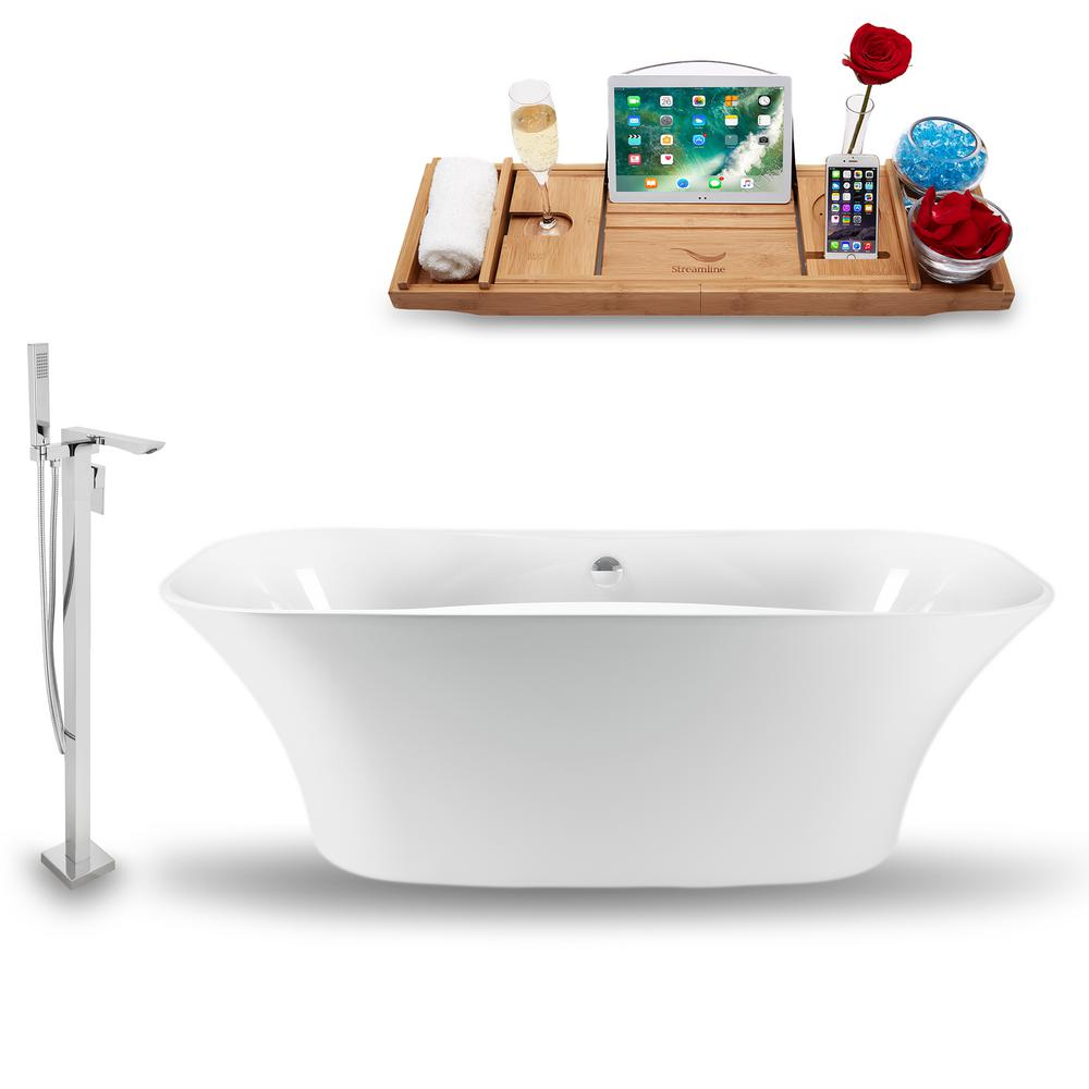 Streamline Tub, Faucet and Tray Set 59 in. Acrylic Flatbottom Non-Whirlpool Bathtub in Glossy White