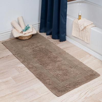 Taupe 2 ft. x 5 ft. Cotton Reversible Extra Long Bath Rug Runner