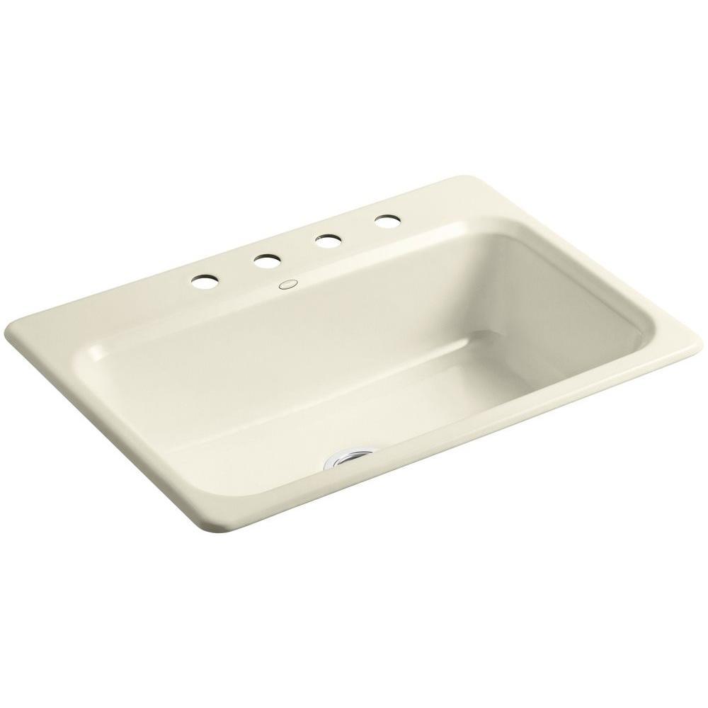 kohler bakersfield drop in cast iron 31 in 4 hole single bowl kitchen sink in cane sugar k 5832. Black Bedroom Furniture Sets. Home Design Ideas