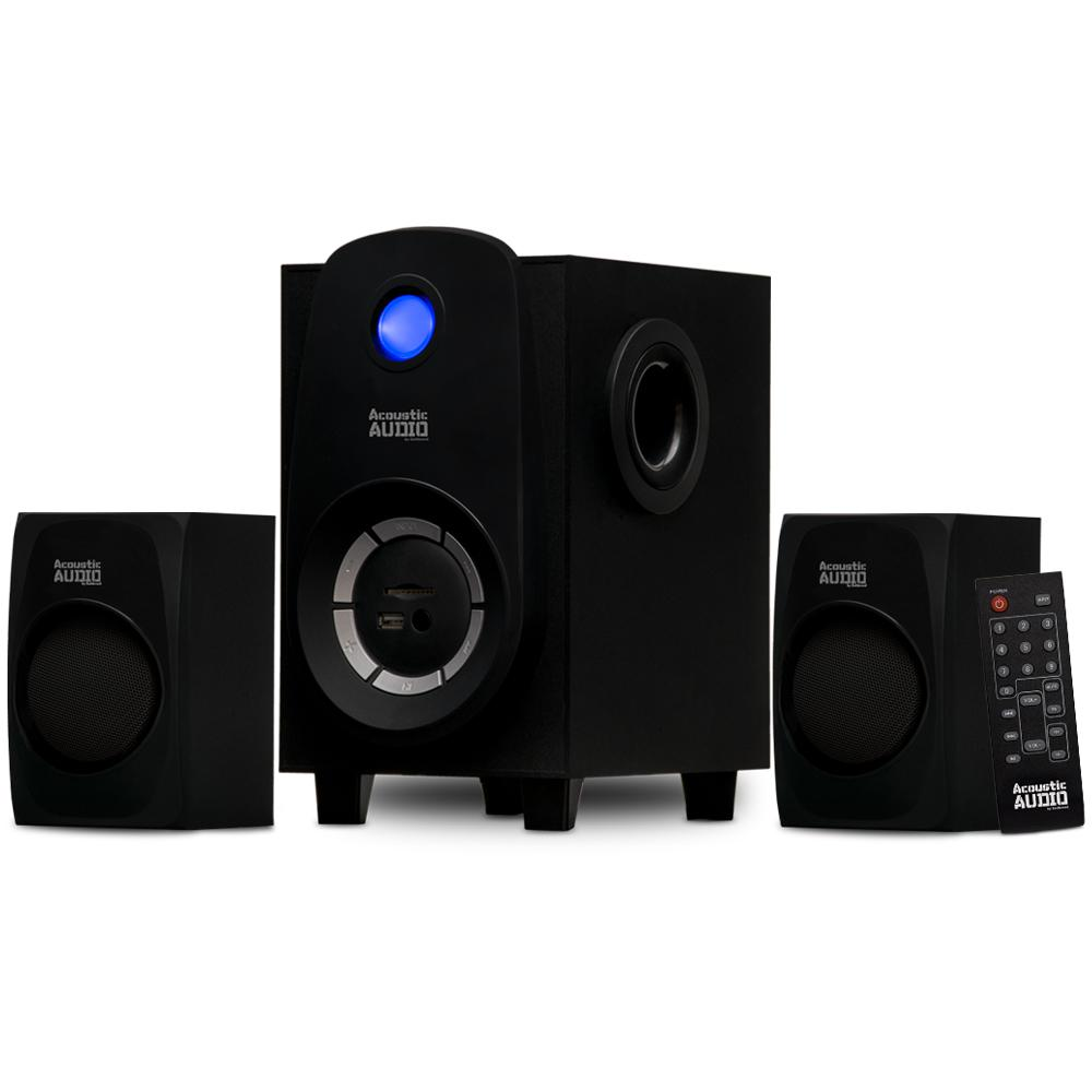 Bluetooth 2.1 Multimedia Speaker System This Acoustic Audio by Gold wood 2.1 Speaker System features a contemporary design, Bluetooth and is a stylish addition to any home. This 3-piece system includes one powered subwoofer and two satellite speakers as well as instructions needed to  Plug and Play  any audio source. Use it for your personal computer or laptop, DVD player, TV, gaming system, MP3 player or other devices with a 3.5 mm. or RCA audio output (3.5 mm. to RCA cable included). The powered subwoofer features a down-firing woofer and utilizes a digitally tuned wooden enclosure for increased bass response. The full-range satellite speakers feature magnetic shielding for use near televisions and computer monitors.