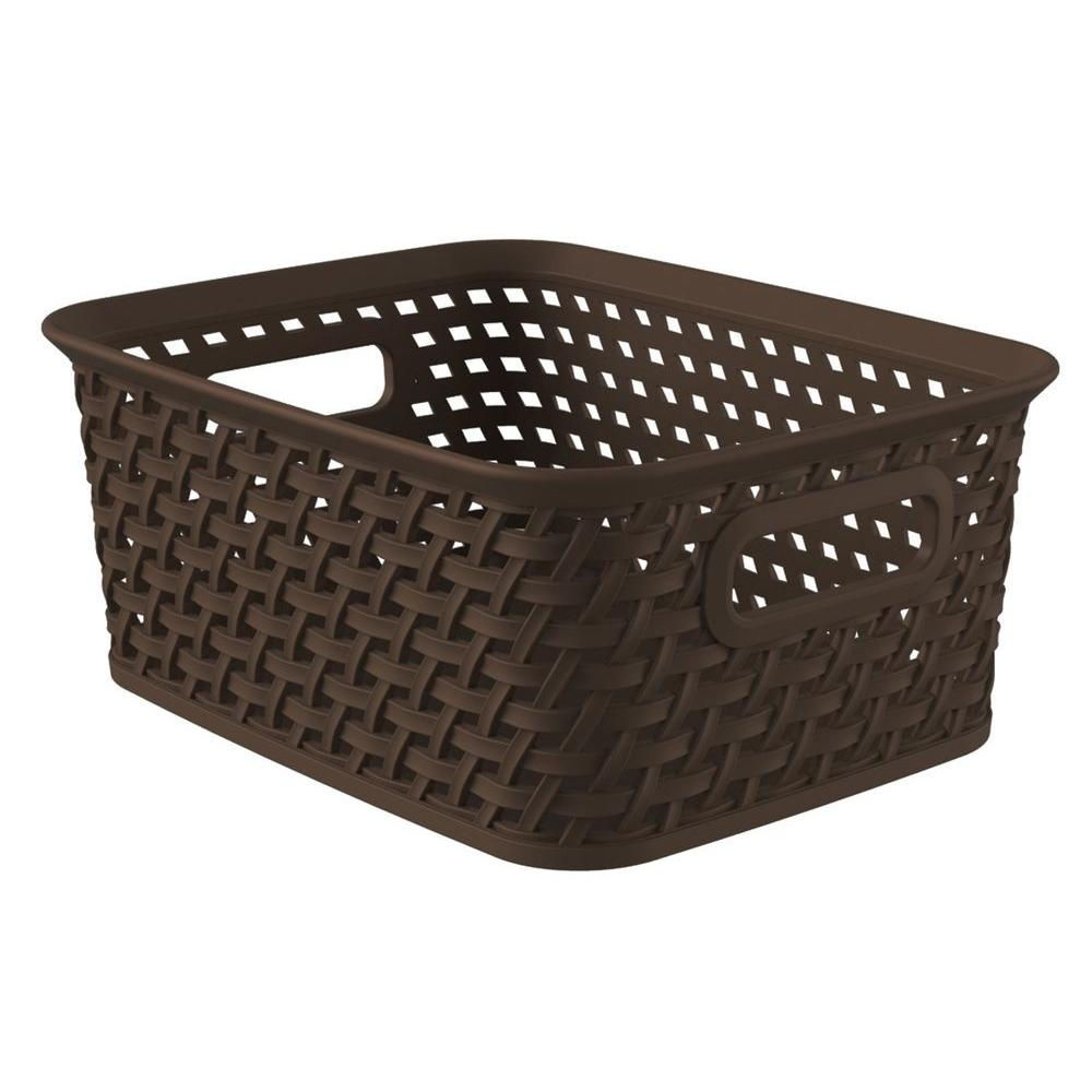 72fee2ab88 Curver Style 9.8 in. x 7.6 in. Espresso Plastic Weave Storage Basket ...