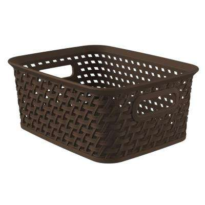 Style 9.8 in. x 7.6 in. Espresso Plastic Weave Storage Basket