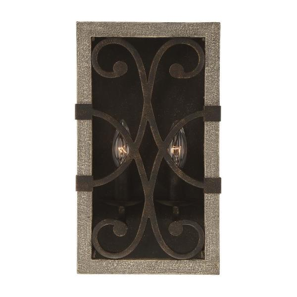 2-Light Noblewood with Iron Sconce with and