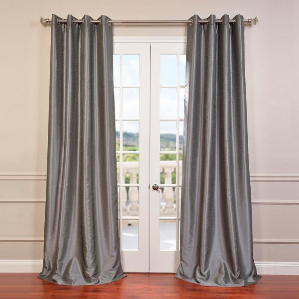 Storm Grey Gray Grommet Blackout Vintage Textured Faux Dupioni Silk Curtain - 50 in. W x 84 in. L (1-Panel)