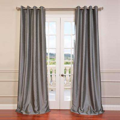 Storm Grey Gray Grommet Blackout Vintage Textured Faux Dupioni Silk Curtain - 50 in. W x 96 in. L