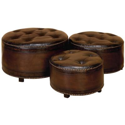 Dark Brown Wood and Tufted Faux Leather Ottomans with Brass Studs (Set of 3)
