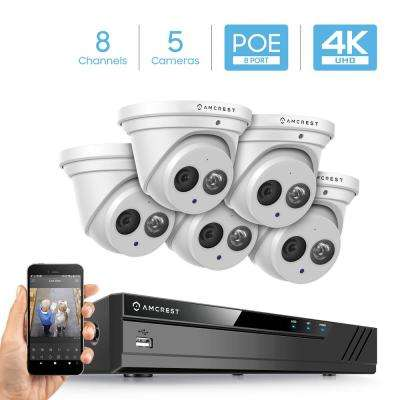 4K 8-Channel NVR Surveillance System with 5 x 8MP Wired Metal Turret Dome POE IP Cameras, IP7 Weatherpoof