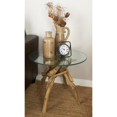 Tan Driftwood Round Accent Table with Clear Glass Top