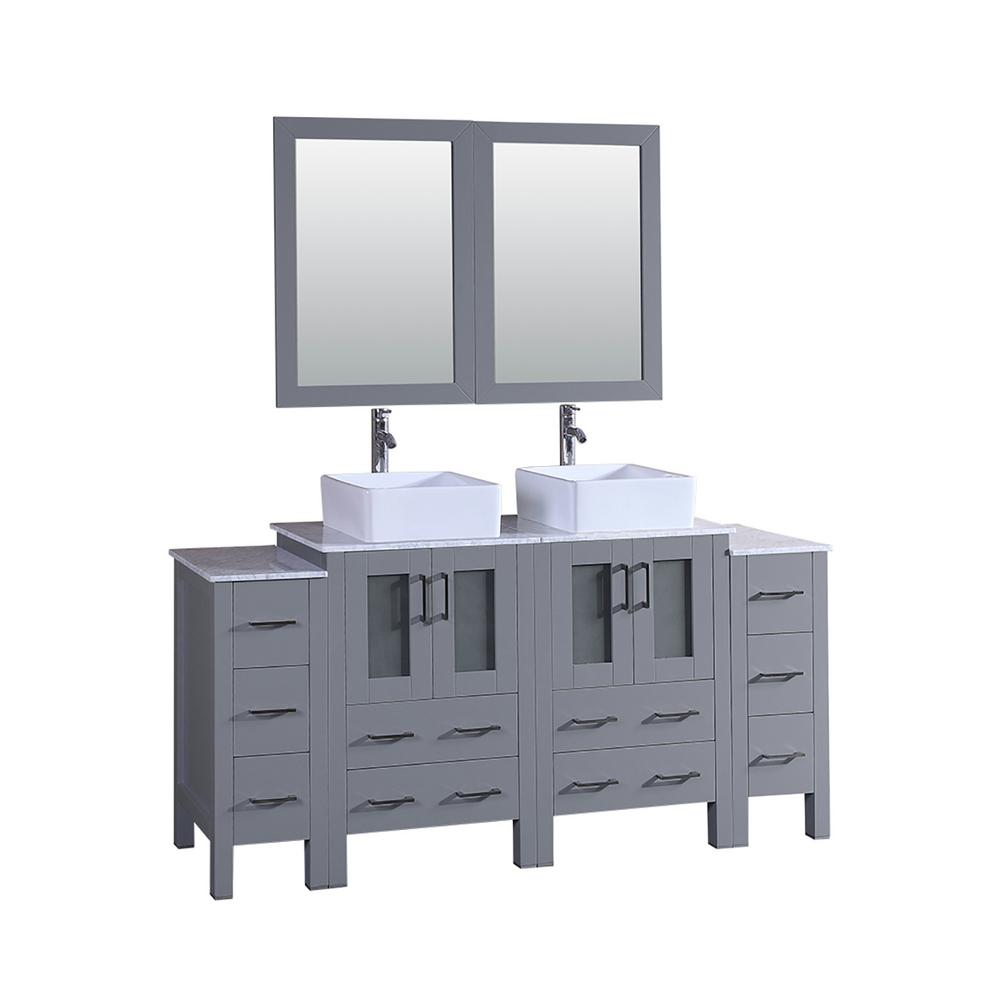 Bosconi 72 in  W Double Bath Vanity with Carrara Marble Vanity Top in Gray  with White Basin and Mirror