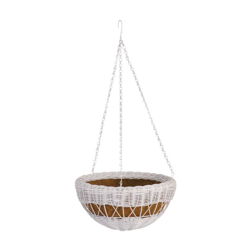 13 in. White Resin Wicker Hanging Basket